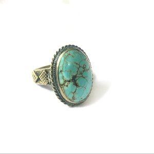 Boho etnic Oval turquoise stone statement ring
